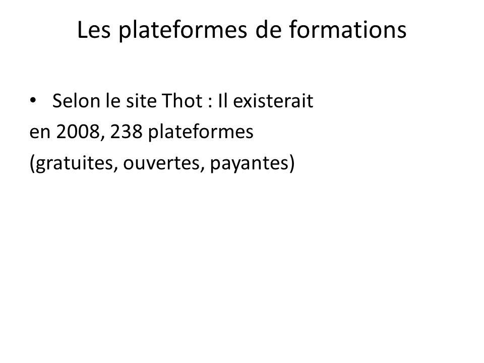 Les plateformes de formations Selon le site Thot : Il existerait en 2008, 238 plateformes (gratuites, ouvertes, payantes)