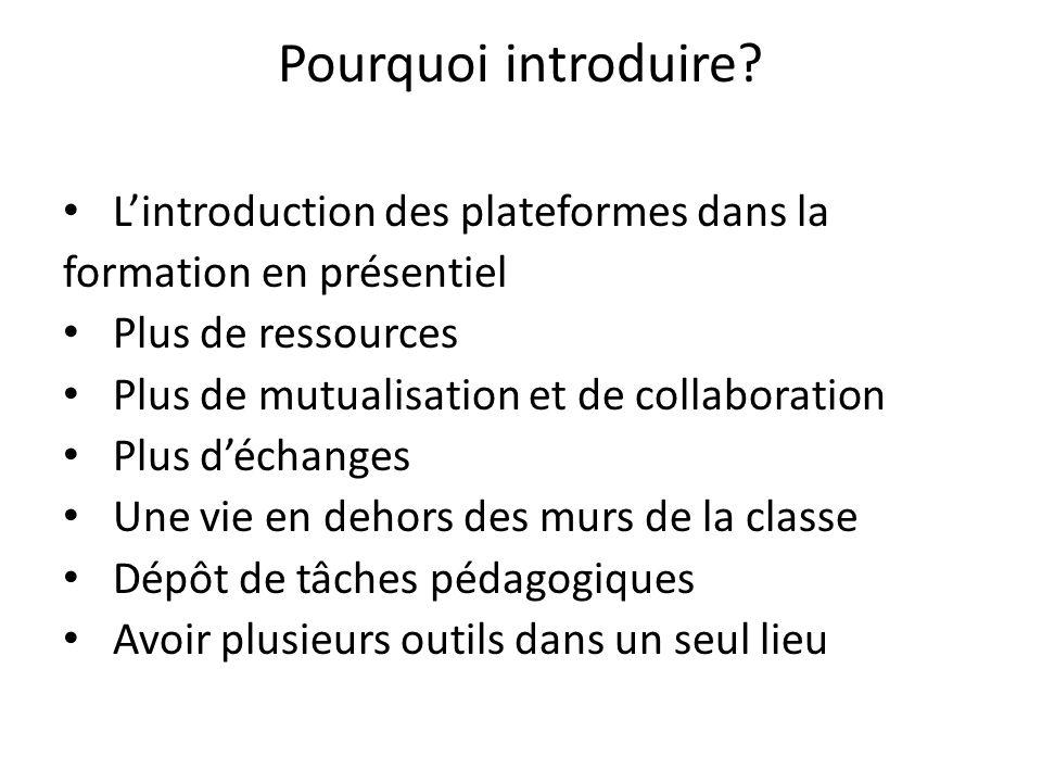 Pourquoi introduire? Lintroduction des plateformes dans la formation en présentiel Plus de ressources Plus de mutualisation et de collaboration Plus d