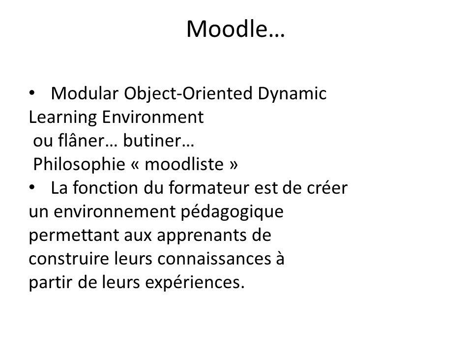 Moodle… Modular Object-Oriented Dynamic Learning Environment ou flâner… butiner… Philosophie « moodliste » La fonction du formateur est de créer un en