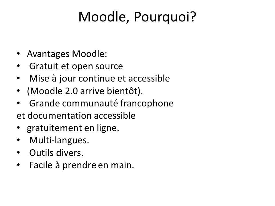 Moodle, Pourquoi? Avantages Moodle: Gratuit et open source Mise à jour continue et accessible (Moodle 2.0 arrive bientôt). Grande communauté francopho