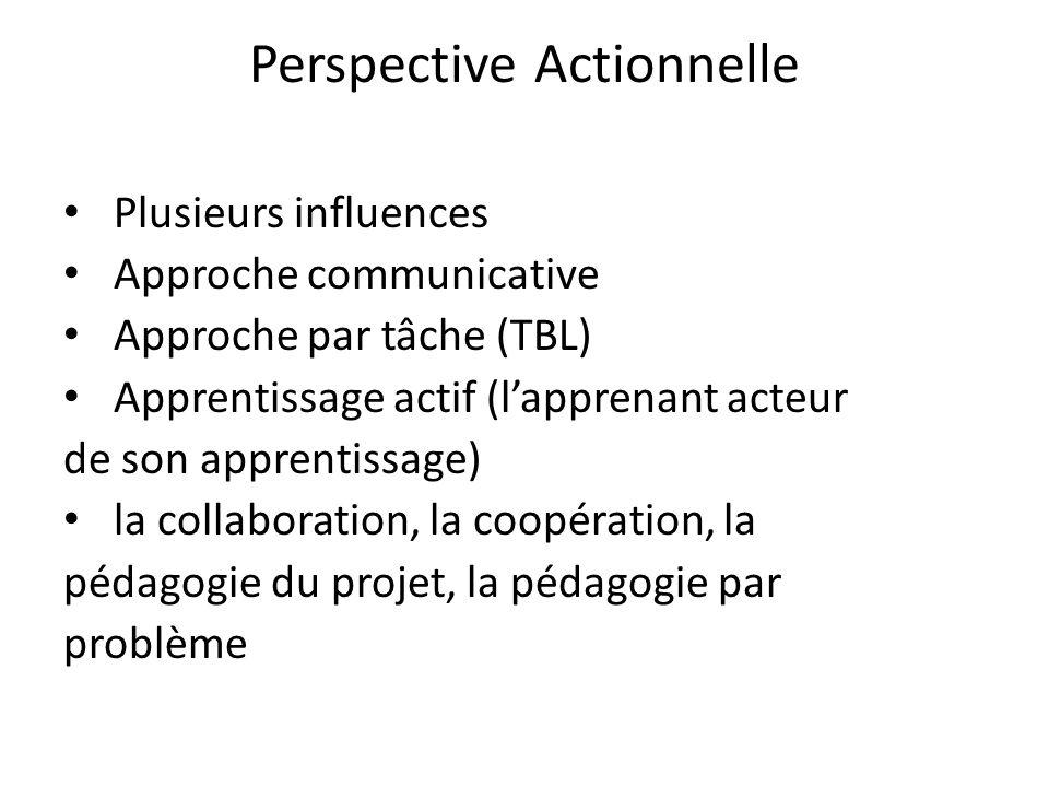 Perspective Actionnelle Plusieurs influences Approche communicative Approche par tâche (TBL) Apprentissage actif (lapprenant acteur de son apprentissa