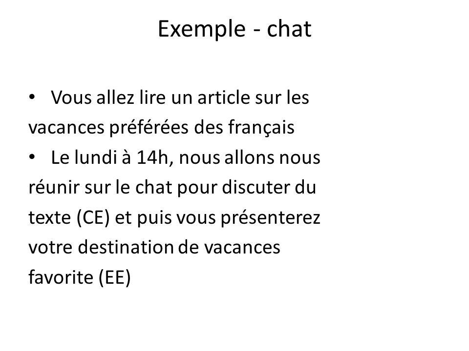 Exemple - chat Vous allez lire un article sur les vacances préférées des français Le lundi à 14h, nous allons nous réunir sur le chat pour discuter du