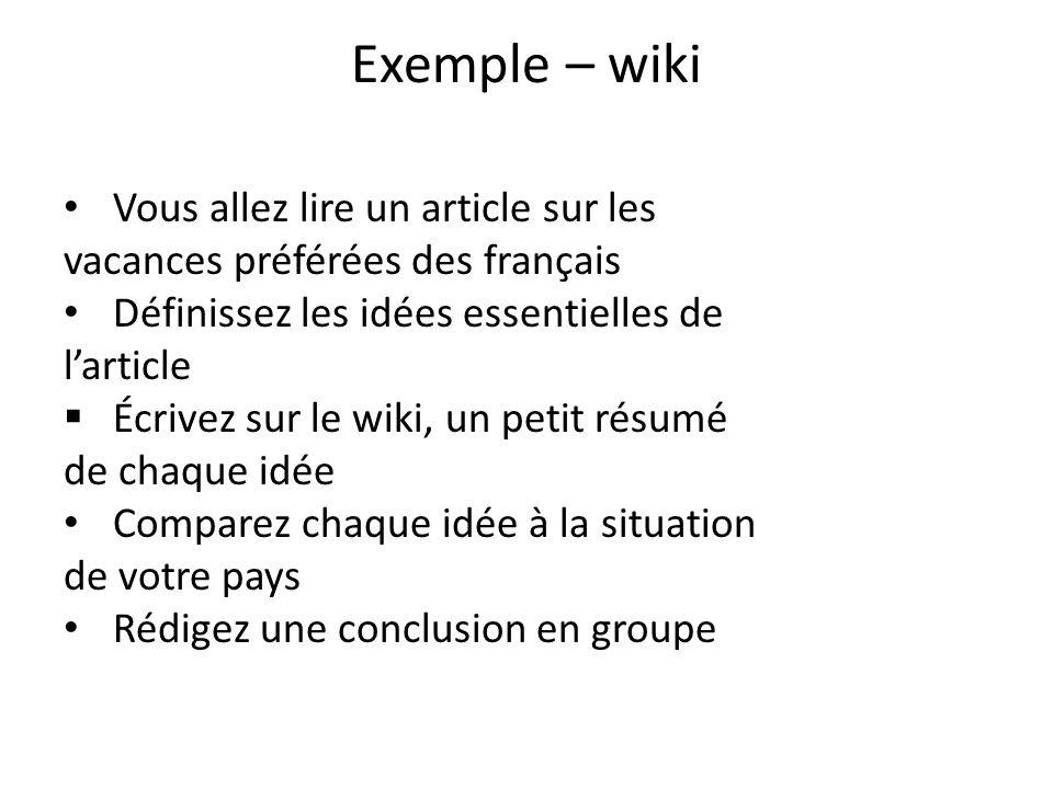 Exemple – wiki Vous allez lire un article sur les vacances préférées des français Définissez les idées essentielles de larticle Écrivez sur le wiki, u