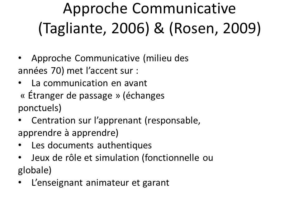 Approche Communicative (Tagliante, 2006) & (Rosen, 2009) Approche Communicative (milieu des années 70) met laccent sur : La communication en avant « É