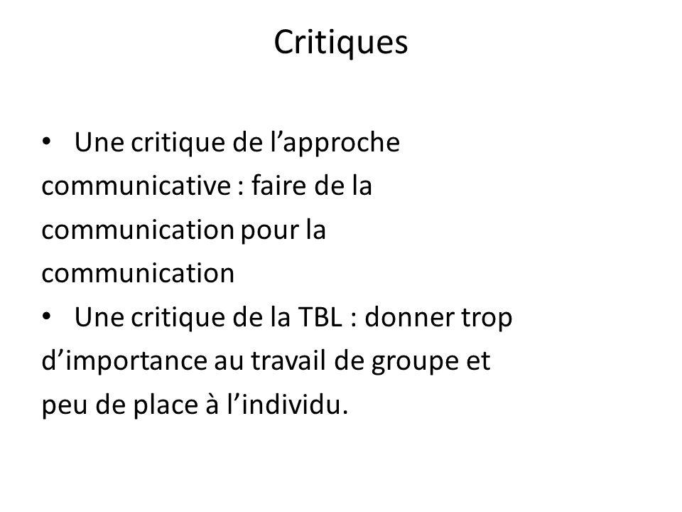 Critiques Une critique de lapproche communicative : faire de la communication pour la communication Une critique de la TBL : donner trop dimportance a