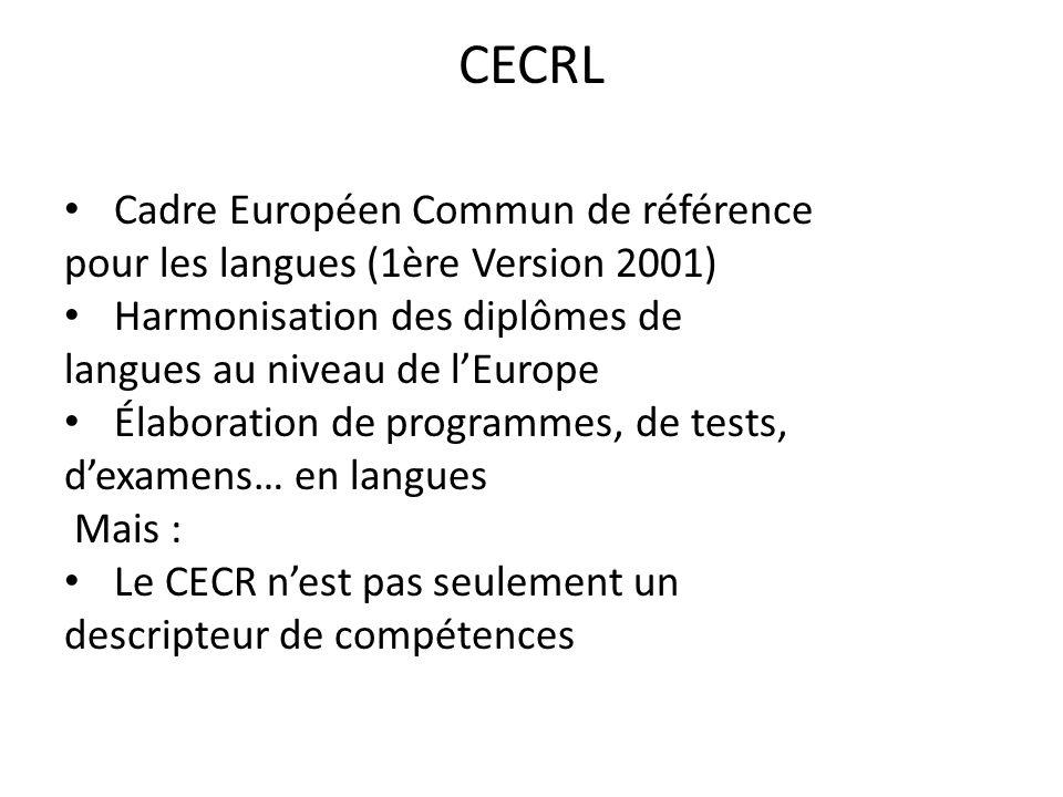 CECRL Cadre Européen Commun de référence pour les langues (1ère Version 2001) Harmonisation des diplômes de langues au niveau de lEurope Élaboration d