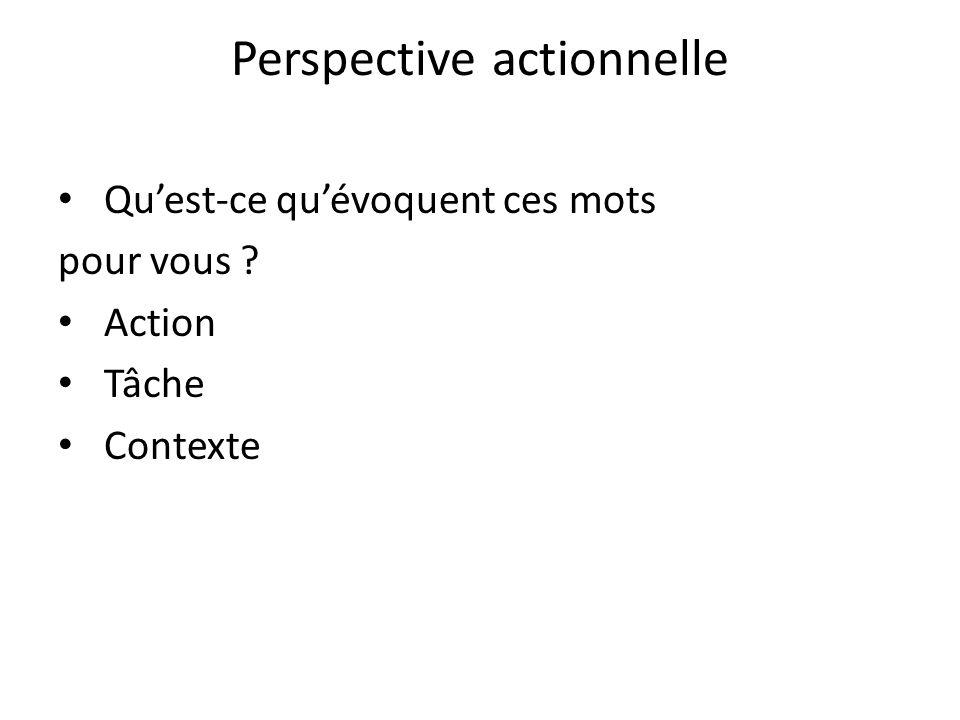 Perspective actionnelle Quest-ce quévoquent ces mots pour vous ? Action Tâche Contexte