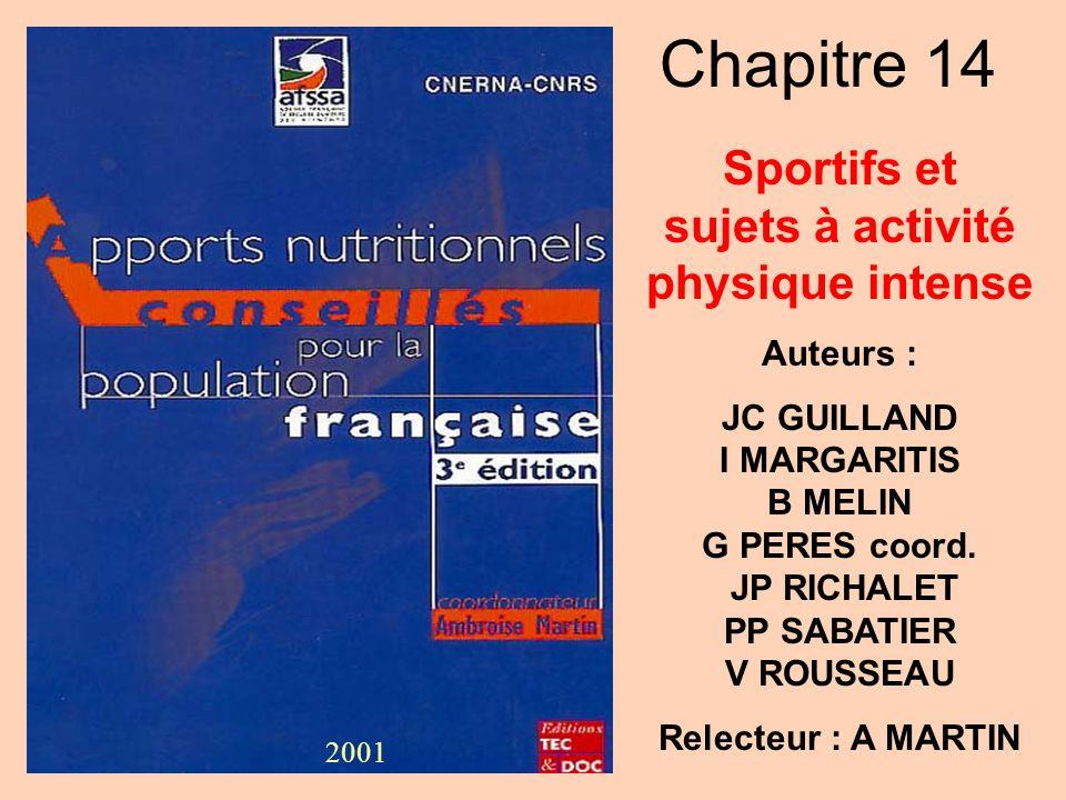 Chapitre 14 Sportifs et sujets à activité physique intense Auteurs : JC GUILLAND I MARGARITIS B MELIN G PERES coord. JP RICHALET PP SABATIER V ROUSSEA