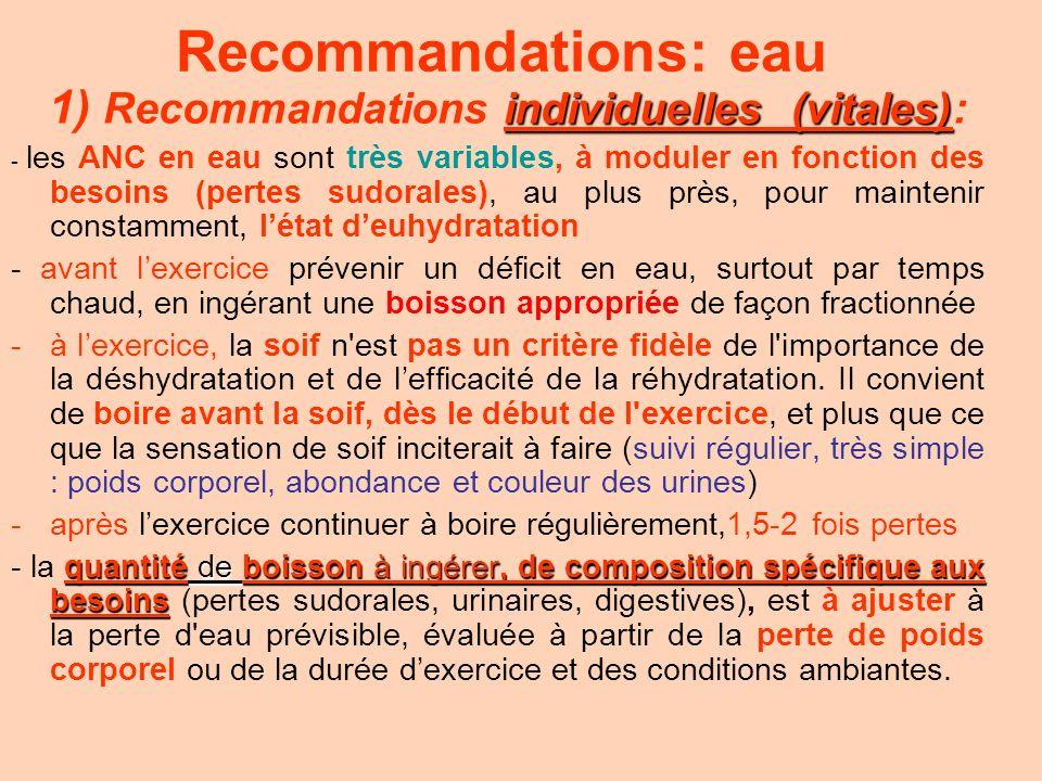 Recommandations: eau individuelles (vitales) 1) Recommandations individuelles (vitales): - les ANC en eau sont très variables, à moduler en fonction d