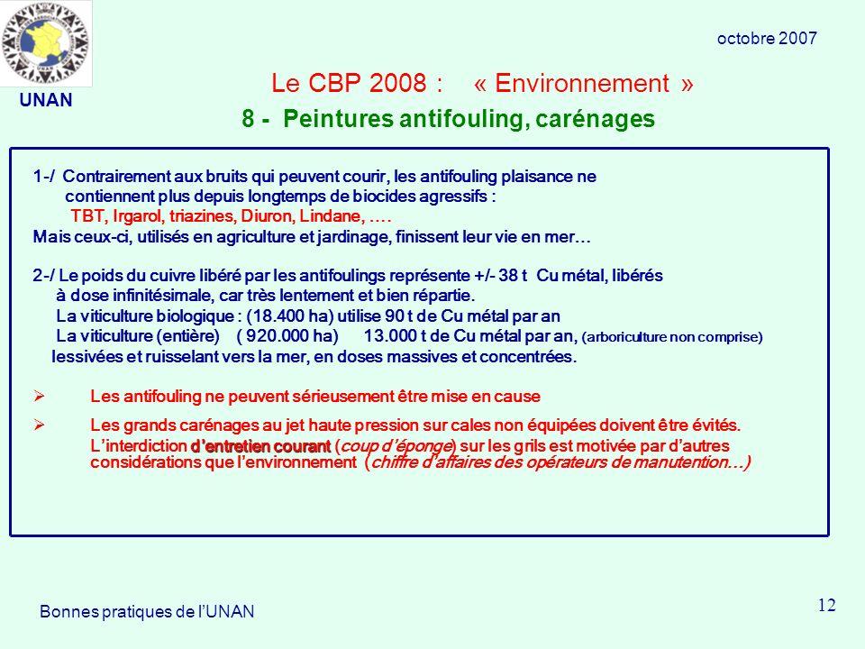 Le CBP 2008 : « Environnement » 1-/ Contrairement aux bruits qui peuvent courir, les antifouling plaisance ne contiennent plus depuis longtemps de biocides agressifs : TBT, Irgarol, triazines, Diuron, Lindane, ….