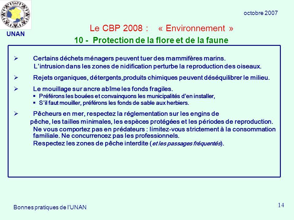 Le CBP 2008 : « Environnement » Certains déchets ménagers peuvent tuer des mammifères marins.