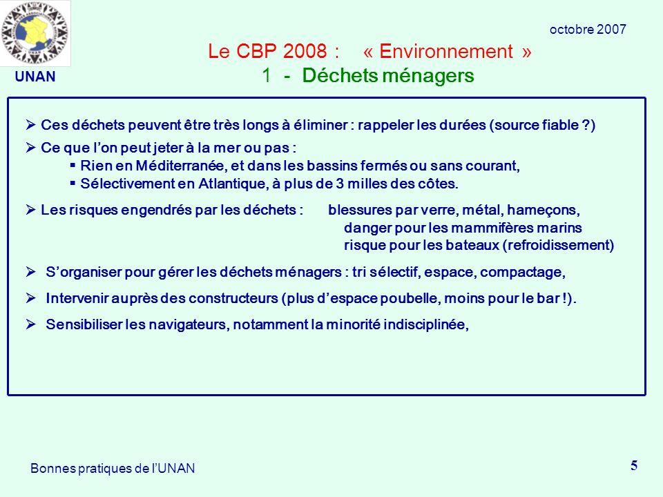 Le CBP 2008 : « Environnement » 1 - Déchets ménagers Ces déchets peuvent être très longs à éliminer : rappeler les durées (source fiable ?) Ce que lon peut jeter à la mer ou pas : Rien en Méditerranée, et dans les bassins fermés ou sans courant, Sélectivement en Atlantique, à plus de 3 milles des côtes.
