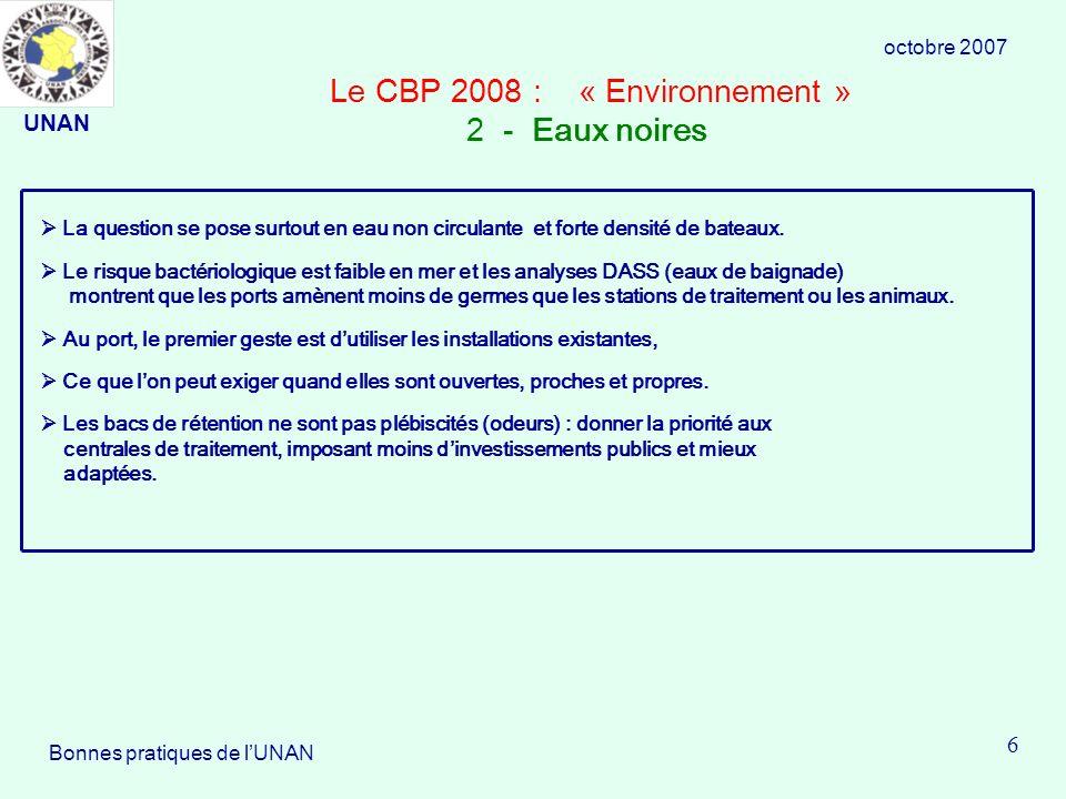 Le CBP 2008 : « Environnement » 2 - Eaux noires La question se pose surtout en eau non circulante et forte densité de bateaux.