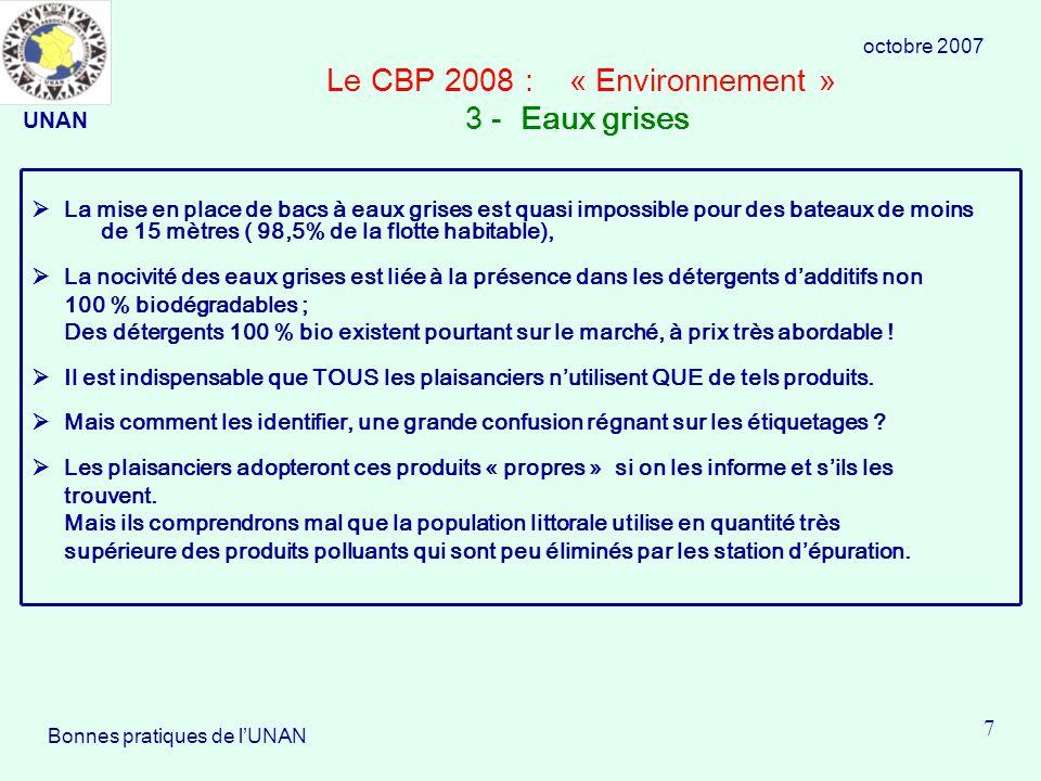 Le CBP 2008 : « Environnement » 3 - Eaux grises La mise en place de bacs à eaux grises est quasi impossible pour des bateaux de moins de 15 mètres ( 98,5% de la flotte habitable), La nocivité des eaux grises est liée à la présence dans les détergents dadditifs non 100 % biodégradables ; Des détergents 100 % bio existent pourtant sur le marché, à prix très abordable .