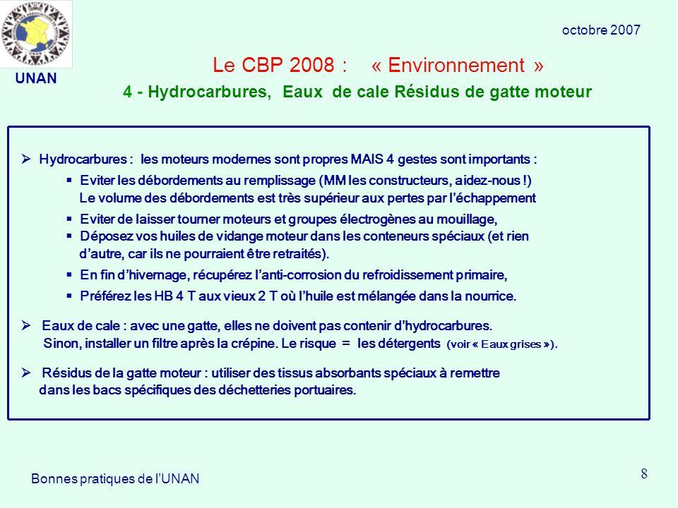 Le CBP 2008 : « Environnement » Hydrocarbures : les moteurs modernes sont propres MAIS 4 gestes sont importants : Eviter les débordements au remplissage (MM les constructeurs, aidez-nous !) Le volume des débordements est très supérieur aux pertes par léchappement Eviter de laisser tourner moteurs et groupes électrogènes au mouillage, Déposez vos huiles de vidange moteur dans les conteneurs spéciaux (et rien dautre, car ils ne pourraient être retraités).