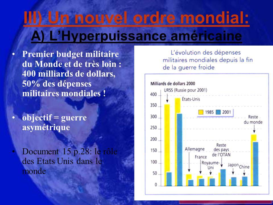 III) Un nouvel ordre mondial: A) LHyperpuissance américaine Premier budget militaire du Monde et de très loin : 400 milliards de dollars, 50% des dépenses militaires mondiales .