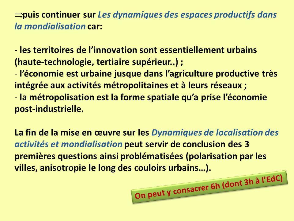 puis continuer sur Les dynamiques des espaces productifs dans la mondialisation car: - les territoires de linnovation sont essentiellement urbains (ha