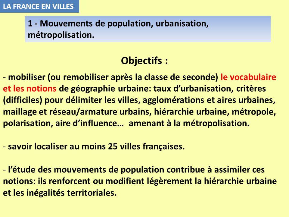 Objectifs : - mobiliser (ou remobiliser après la classe de seconde) le vocabulaire et les notions de géographie urbaine: taux durbanisation, critères