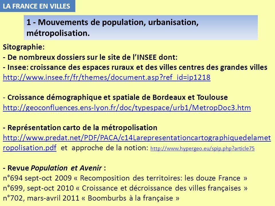 Sitographie: - De nombreux dossiers sur le site de lINSEE dont: - Insee: croissance des espaces ruraux et des villes centres des grandes villes http:/