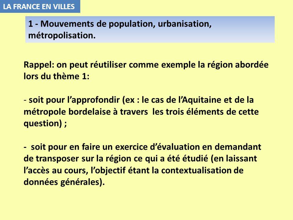 Rappel: on peut réutiliser comme exemple la région abordée lors du thème 1: - soit pour lapprofondir (ex : le cas de lAquitaine et de la métropole bor