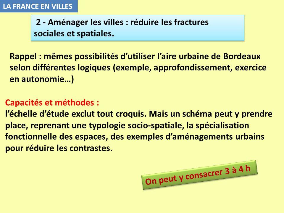 LA FRANCE EN VILLES Capacités et méthodes : léchelle détude exclut tout croquis. Mais un schéma peut y prendre place, reprenant une typologie socio-sp