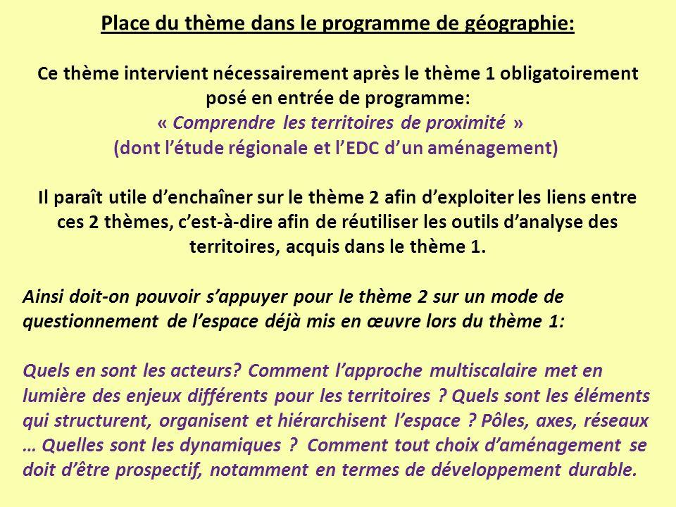 Place du thème dans le programme de géographie: Ce thème intervient nécessairement après le thème 1 obligatoirement posé en entrée de programme: « Com