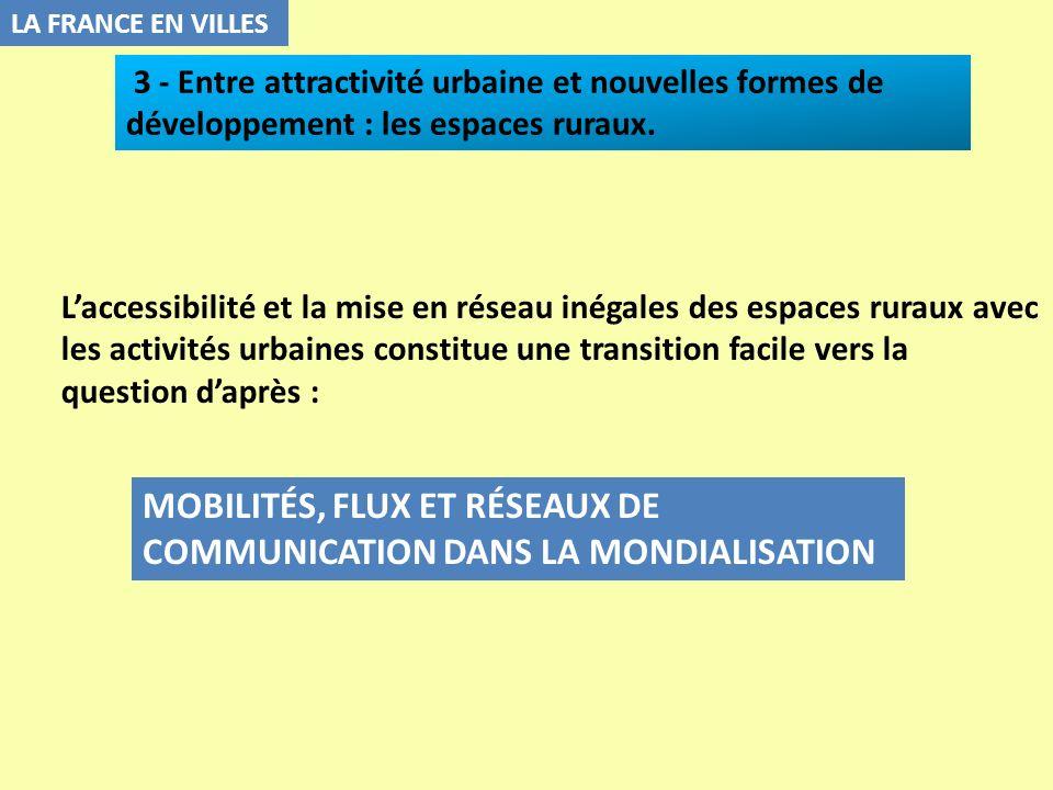 LA FRANCE EN VILLES Laccessibilité et la mise en réseau inégales des espaces ruraux avec les activités urbaines constitue une transition facile vers l