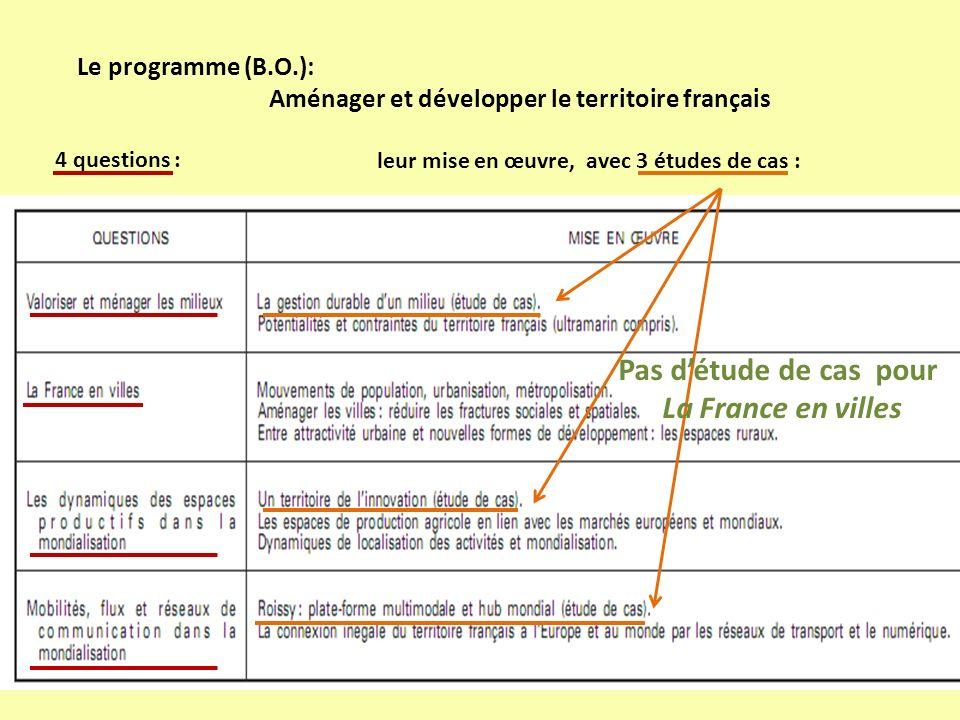 Le programme (B.O.): Aménager et développer le territoire français 4 questions : leur mise en œuvre, avec 3 études de cas : Pas détude de cas pour La