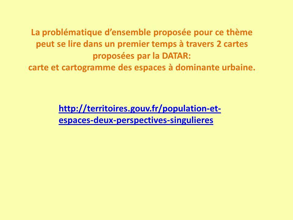 Problématique densemble proposée pour ce thème: Le fait urbain est un fait majeur qui a contribué à aménager le territoire français, pays développé, autour de sa trame urbaine.