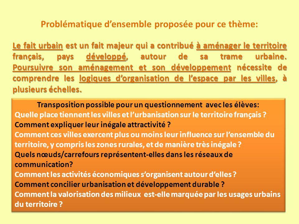 Proposition pour traiter ces 4 questions selon la problématique choisie: - commencer par La France en villes ; - poursuivre avec Mobilités, flux et réseaux de communication dans la mondialisation ; - puis avec Les dynamiques des espaces productifs dans la mondialisation ; - et finir le thème par la question Valoriser et ménager les milieux.