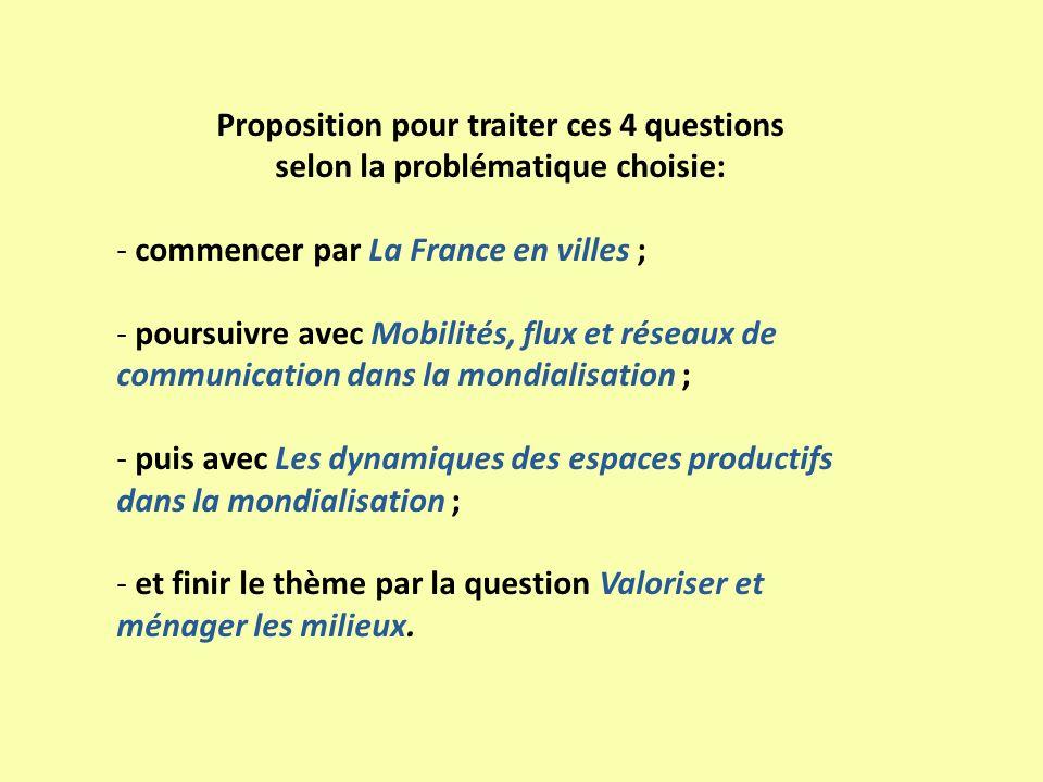 Proposition pour traiter ces 4 questions selon la problématique choisie: - commencer par La France en villes ; - poursuivre avec Mobilités, flux et ré