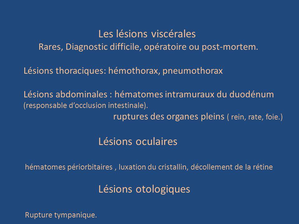Les lésions viscérales Rares, Diagnostic difficile, opératoire ou post-mortem. Lésions thoraciques: hémothorax, pneumothorax Lésions abdominales : hém