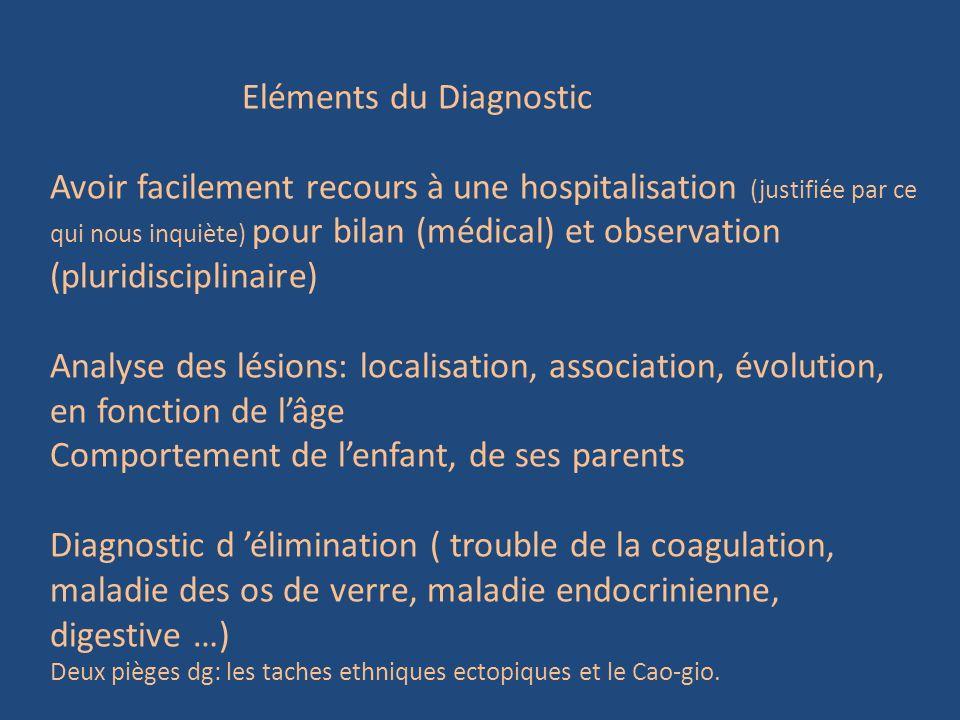 Eléments du Diagnostic Avoir facilement recours à une hospitalisation (justifiée par ce qui nous inquiète) pour bilan (médical) et observation (plurid