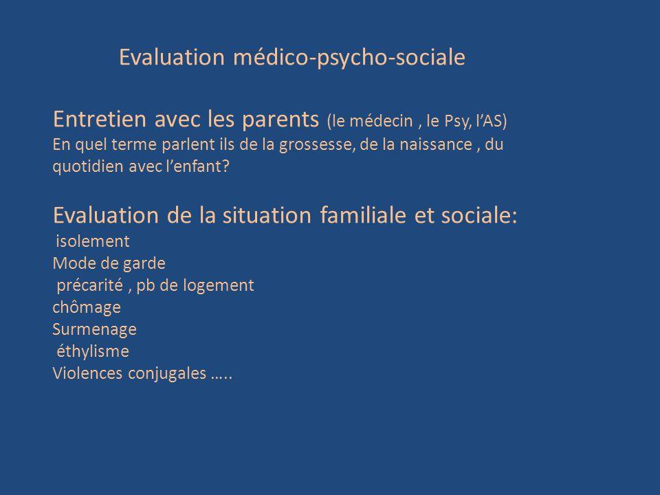 Evaluation médico-psycho-sociale Entretien avec les parents (le médecin, le Psy, lAS) En quel terme parlent ils de la grossesse, de la naissance, du q