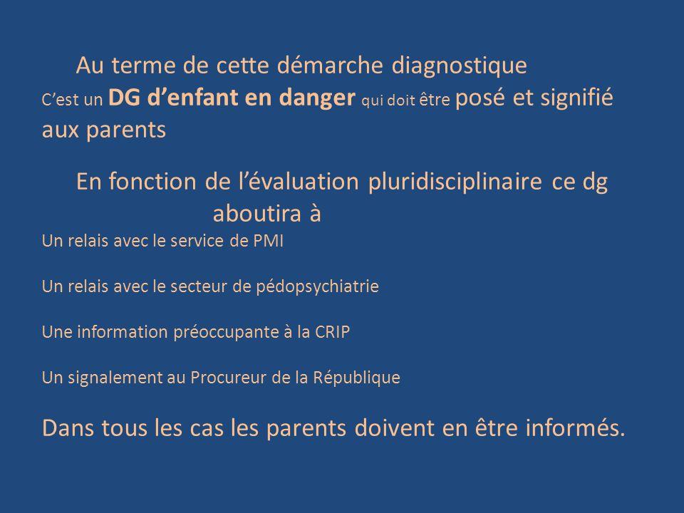 Au terme de cette démarche diagnostique Cest un DG denfant en danger qui doit être posé et signifié aux parents En fonction de lévaluation pluridiscip