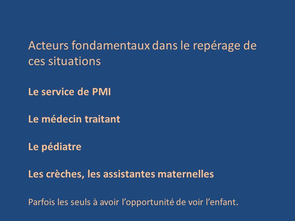 Acteurs fondamentaux dans le repérage de ces situations Le service de PMI Le médecin traitant Le pédiatre Les crèches, les assistantes maternelles Par