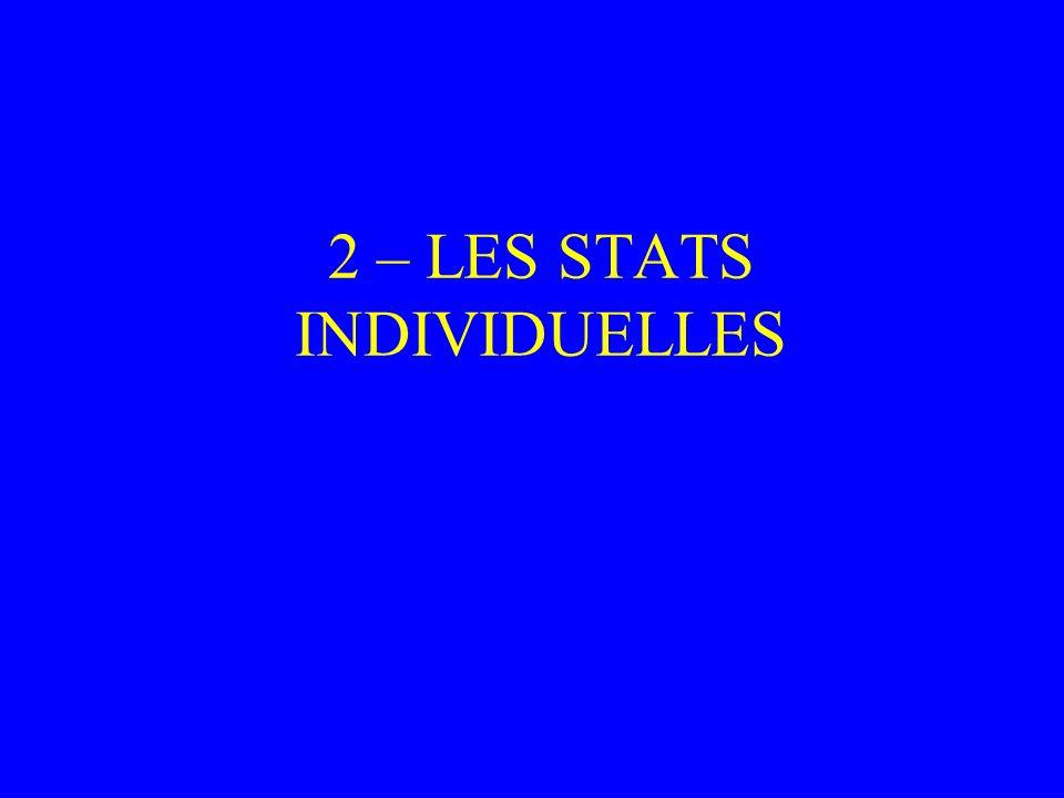 2 – LES STATS INDIVIDUELLES
