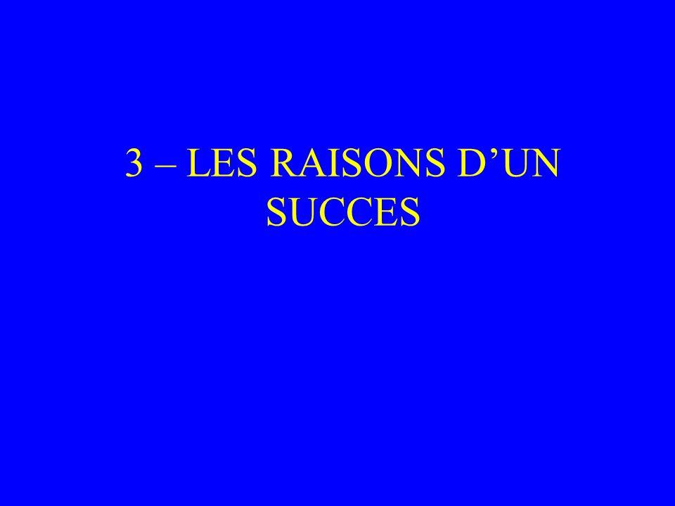 3 – LES RAISONS DUN SUCCES