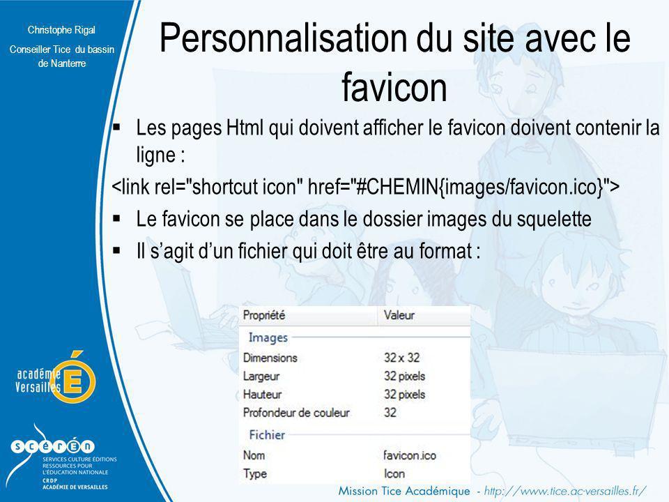 Christophe Rigal Conseiller Tice du bassin de Nanterre Personnalisation du site avec le favicon Les pages Html qui doivent afficher le favicon doivent