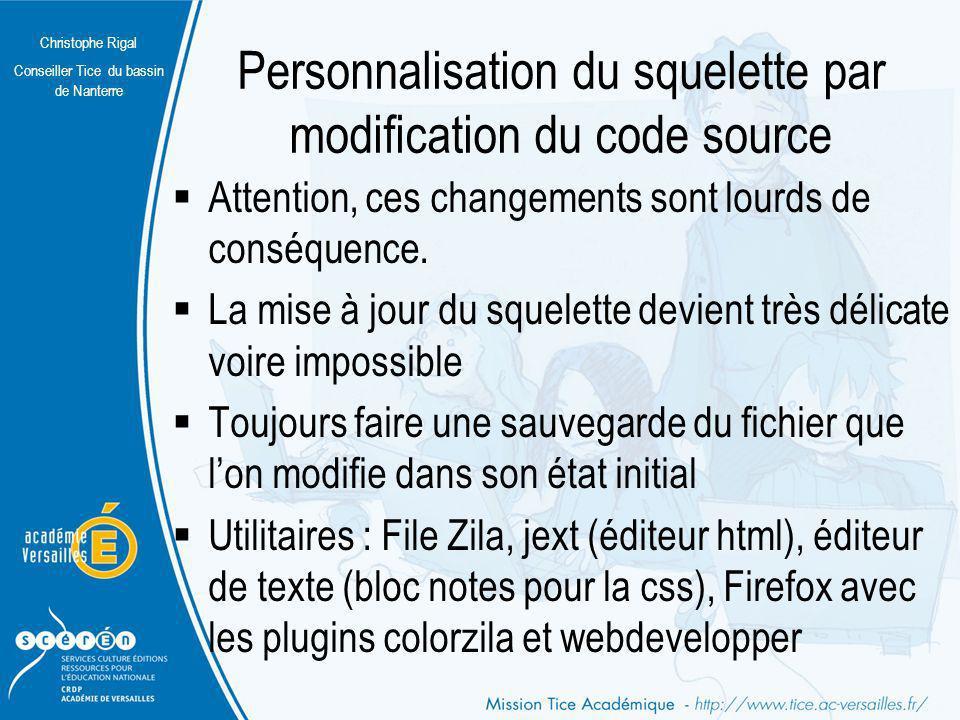 Christophe Rigal Conseiller Tice du bassin de Nanterre Personnalisation du squelette par modification du code source Attention, ces changements sont l