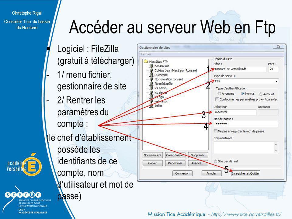 Christophe Rigal Conseiller Tice du bassin de Nanterre Accéder au serveur Web en Ftp Logiciel : FileZilla (gratuit à télécharger) -1/ menu fichier, ge