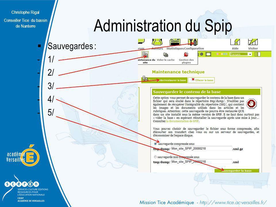 Christophe Rigal Conseiller Tice du bassin de Nanterre Administration du Spip Sauvegardes : -La base est sauvegardée.