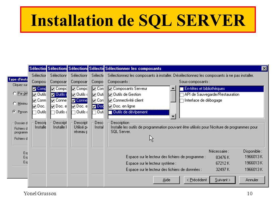 Yonel Grusson10 Installation de SQL SERVER