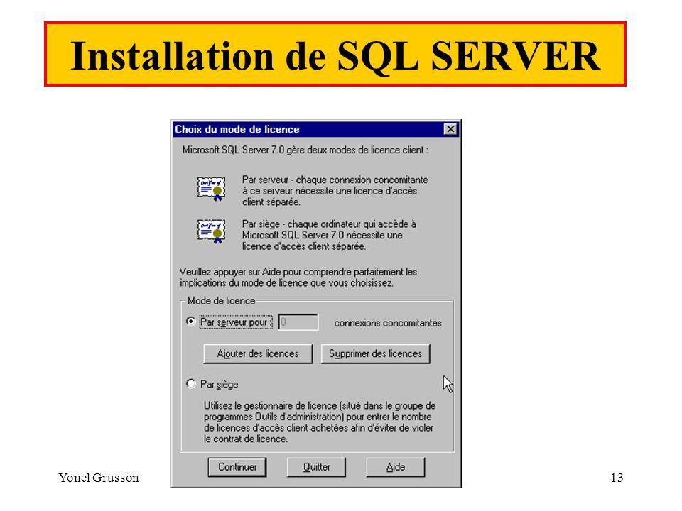Yonel Grusson13 Installation de SQL SERVER
