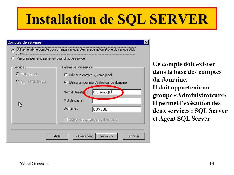 Yonel Grusson14 Installation de SQL SERVER Ce compte doit exister dans la base des comptes du domaine. Il doit appartenir au groupe «Administrateurs»