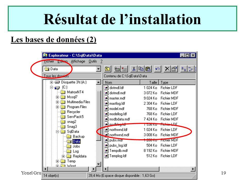Yonel Grusson19 Les bases de données (2) Résultat de linstallation