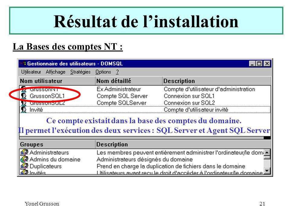Yonel Grusson21 Résultat de linstallation La Bases des comptes NT : Ce compte existait dans la base des comptes du domaine. Il permet l'exécution des