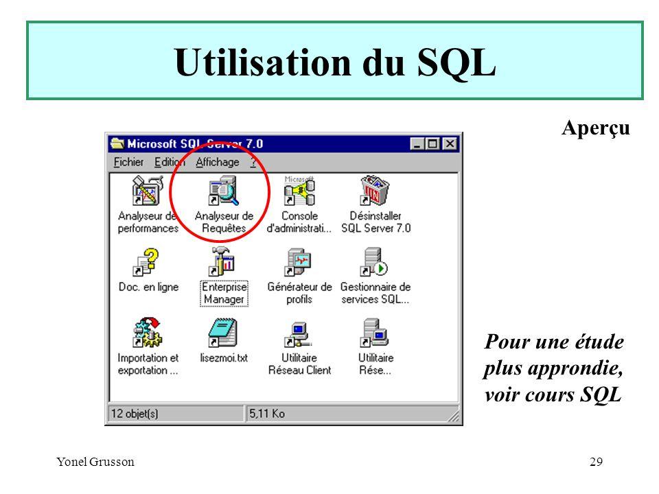 Yonel Grusson29 Utilisation du SQL Pour une étude plus approndie, voir cours SQL Aperçu