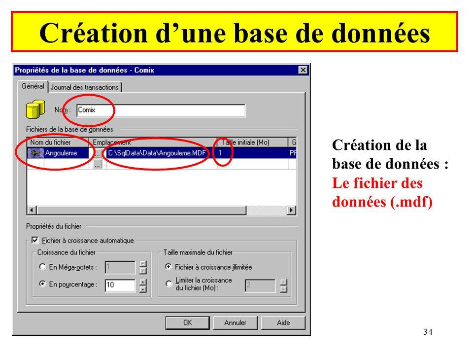 Yonel Grusson34 Création dune base de données Création de la base de données : Le fichier des données (.mdf)