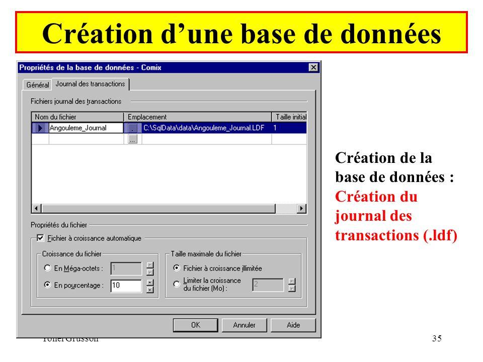 Yonel Grusson35 Création dune base de données Création de la base de données : Création du journal des transactions (.ldf)